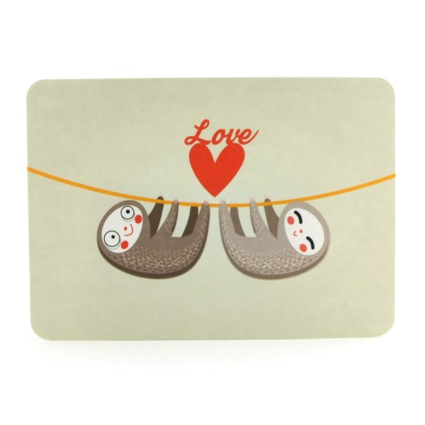 Postkarte verliebte Faultiere