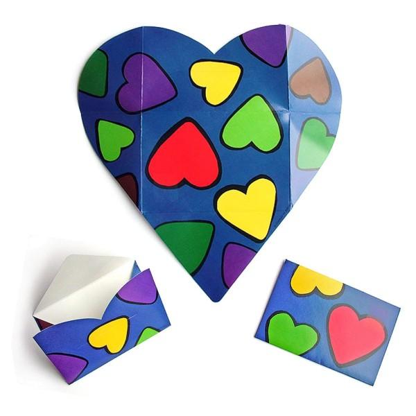 Faltbrief bunte Herzen - Faltbriefbogen aus Papier komplett Set Ansicht Innenseite und gefaltet