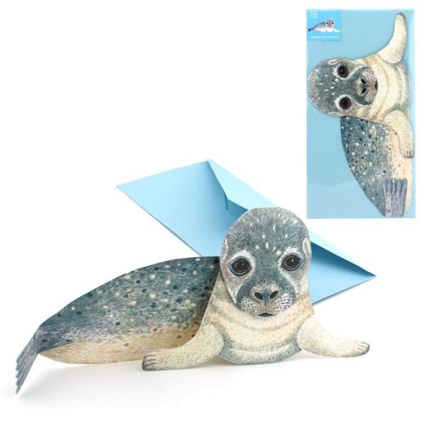 Geburtstagseinladung Seehund - Einladungskarte Kinder Set mit DIN-lang Versandtasche