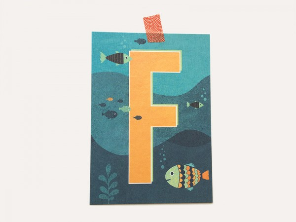 Buchstaben-Postkarte F