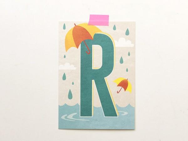 Buchstaben-Postkarte R
