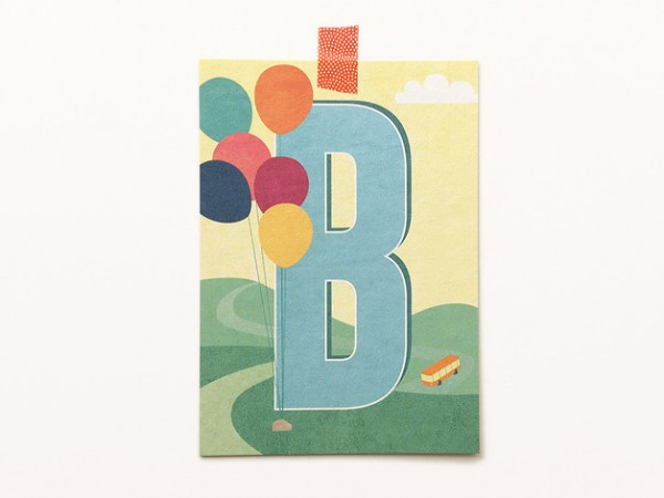 Buchstaben-Postkarte B