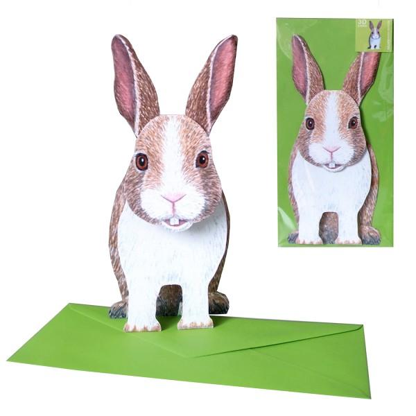 Partyeinladung 3d Figur Hase - Karte Kindergeburtstag mit DIN lang Umschlag