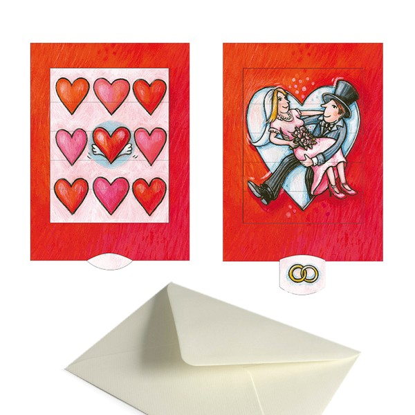 Hochzeitskarte Herzen / Brautpaar - Schiebekarte komplett Set mit Couvert