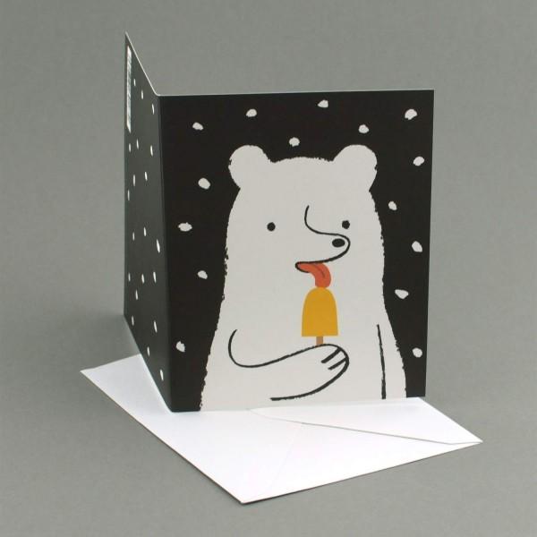 Weihnachtskarte Eisbär schleckt Eis