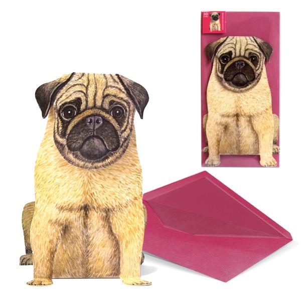 Grußkarte Hund Mops - 3D Karte Tiermotiv mit DIN-lang Briefumschlag