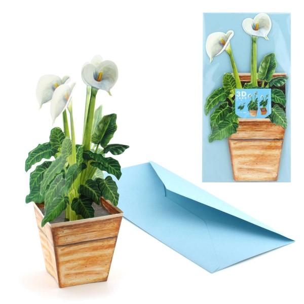Grußkarte Blume Kalla im Topf - 3D Motivkarte mit Couvert