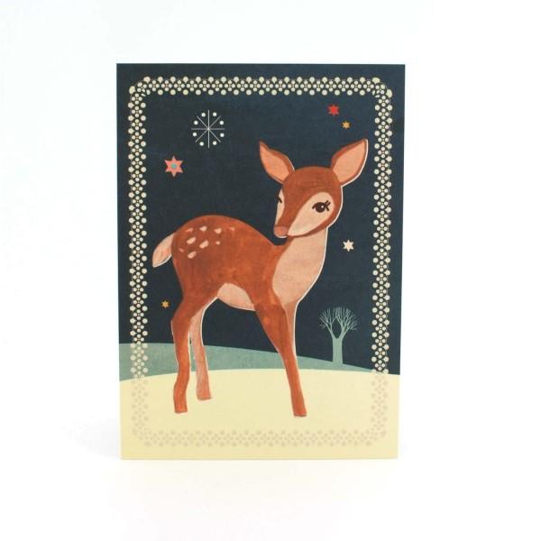 Weihnachtskarte Rehkitz