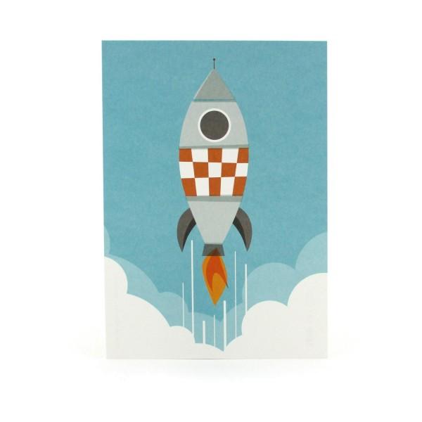 Postkarte mit einer Rakete