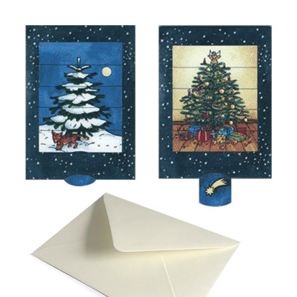Weihnachtskarte Weihnachtsbaum - Schiebekarte Advent