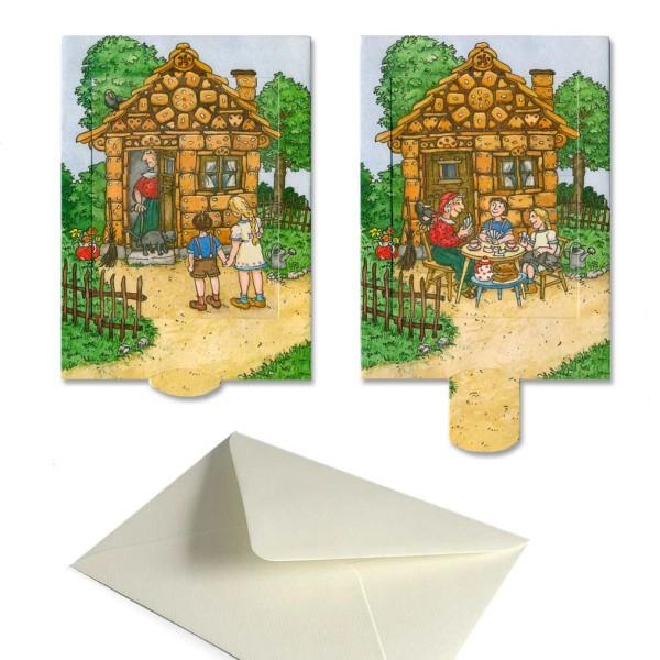 Schiebekarte Hänsel und Gretel, Märchenkarte