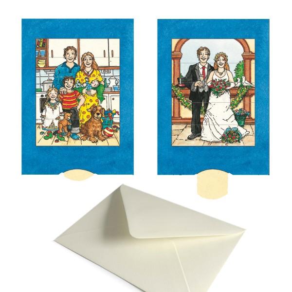 Hochzeitskarte Familie / Brautpaar - Schiebekarte Hochzeit