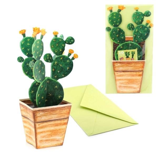 Einladungskarte Kaktus - 3D Kakteen Grusskarte Set inklusive Couvert