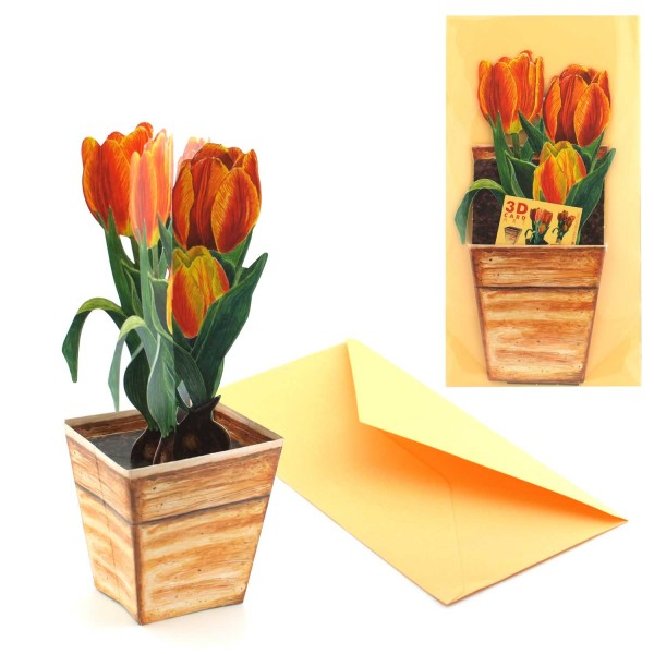 Danksagungskarte 3D Tulpe - Dankeschön Karte Komplett-Set mit Versandtasche