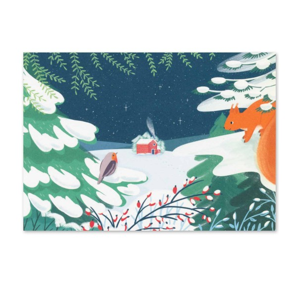 Postkarte Haus im Winterwald