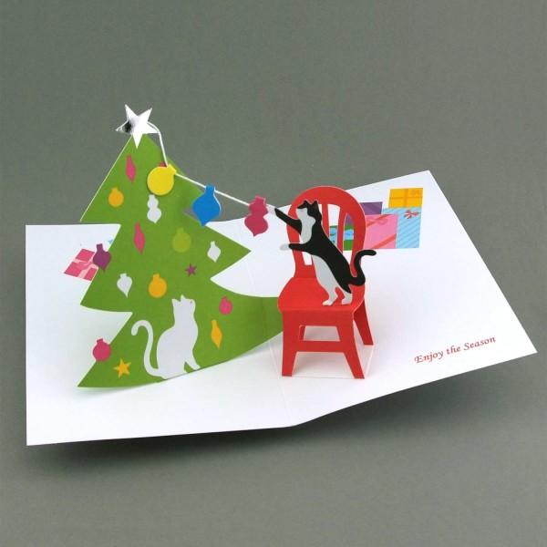 Pop-up-Karte Katzen am Weihnachtsbaum