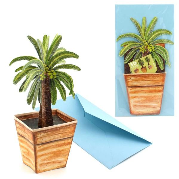 Karte Palme 3D - Blumenmotiv Grusskarte mit Versandhülle