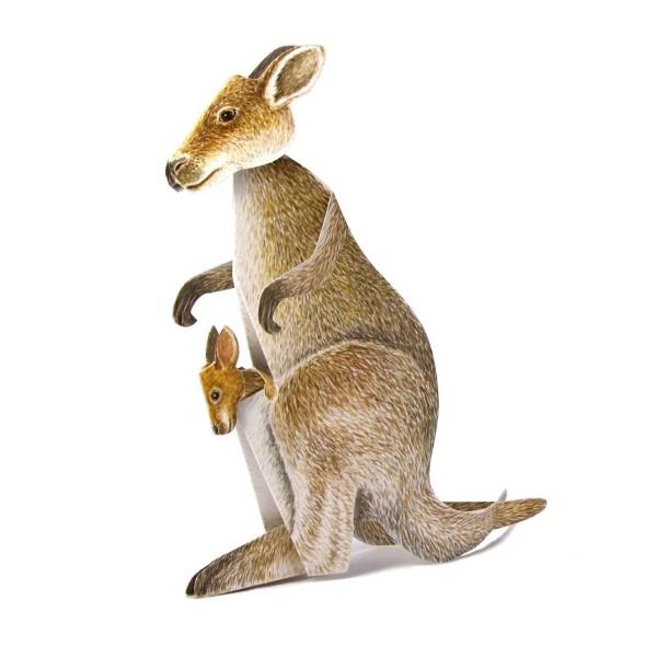 3D-Grusskarte Känguru mit Jungem