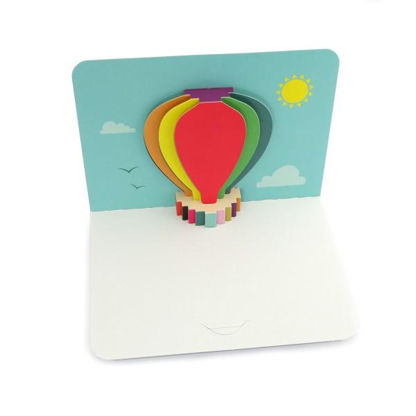 Pop-up-Karte mit einem Fesselballon