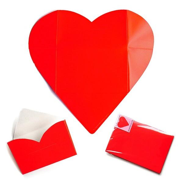 Faltbrief rotes Herz - Faltbriefbogen Liebesgrüße aus Papier komplett Set Ansicht Innenseite und gefaltet