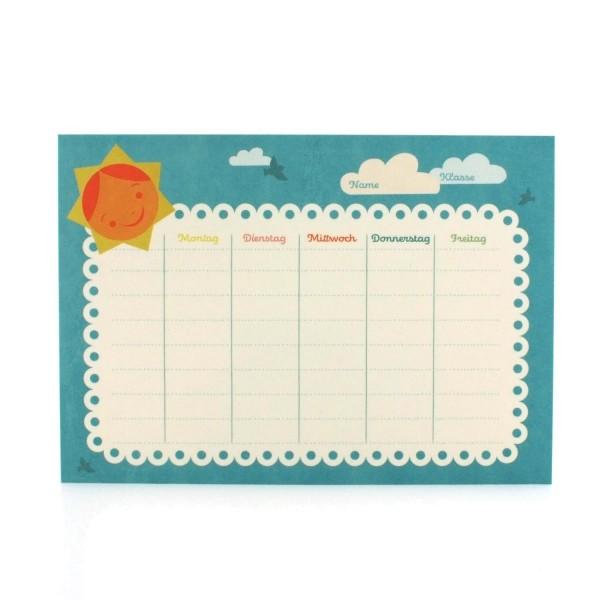 Postkarte zur Einschulung / Stundenplan