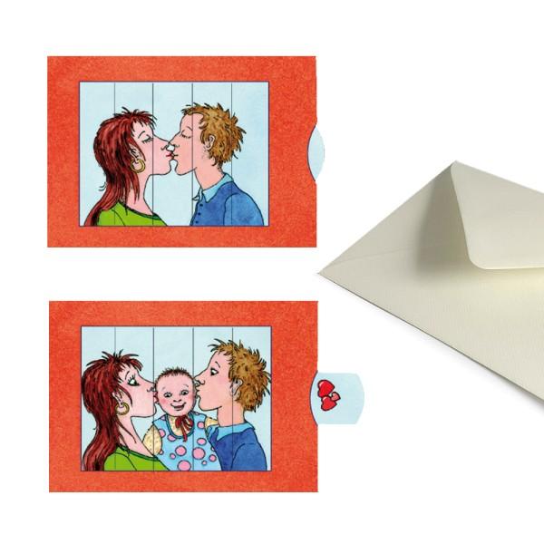 Geburtskarte Kuss / Baby - Schiebekarte Taufkarte