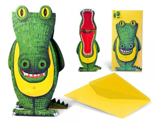 Einladungskarte Kindergeburtstag 3D Figur Krokodil mit Blume - Geburtstagseinladung mit Briefumschlag