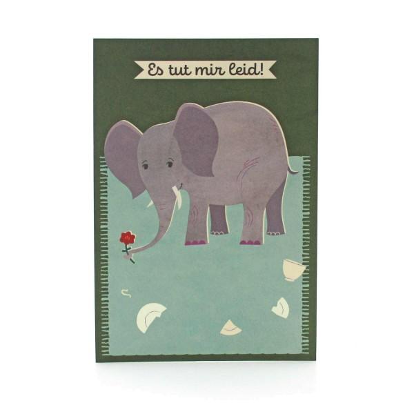 Postkarte Es tut mir leid mit Elefant und Blume