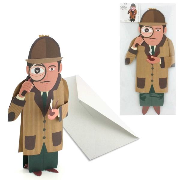 Faltkarte Detektiv - Sherlock Holmes 3D Grusskarte komplett mit Briefumschlag