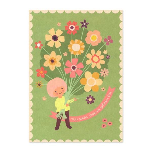 """Postkarte """"Wie schön, dass du geboren bist."""" hellgrün / Geburtstag kaufen"""
