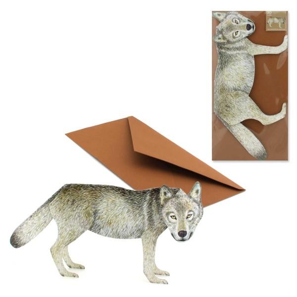 Dreidimensionale Grusskarte Wolf