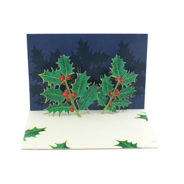 """Pop-up-Karte """"Ilex"""", 3D-Weihnachtskarte"""