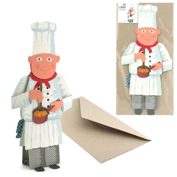 Einladungskarte 3D Koch - Grußkarte Komplett Set mit Briefumschlag
