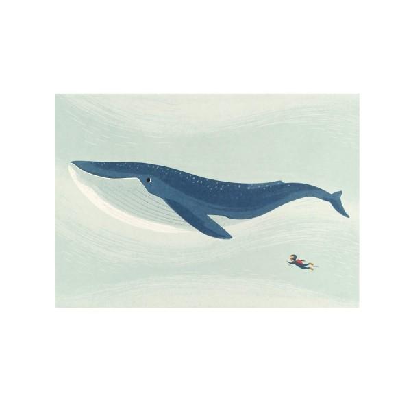 Postkarte mit Wal und Taucher
