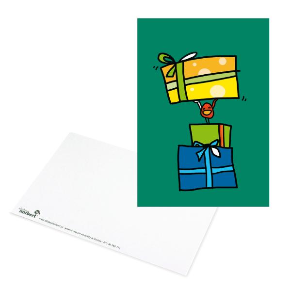 Postkarte Norbert bringt Geschenke - Geburtstagskarte Ansicht Vorderseite und Rückseite