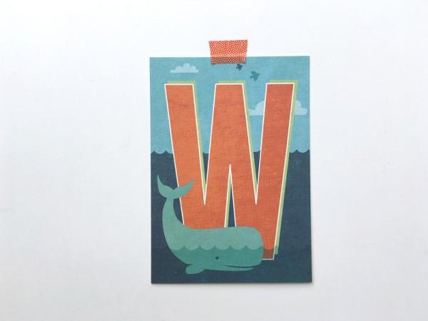 Buchstaben-Postkarte W