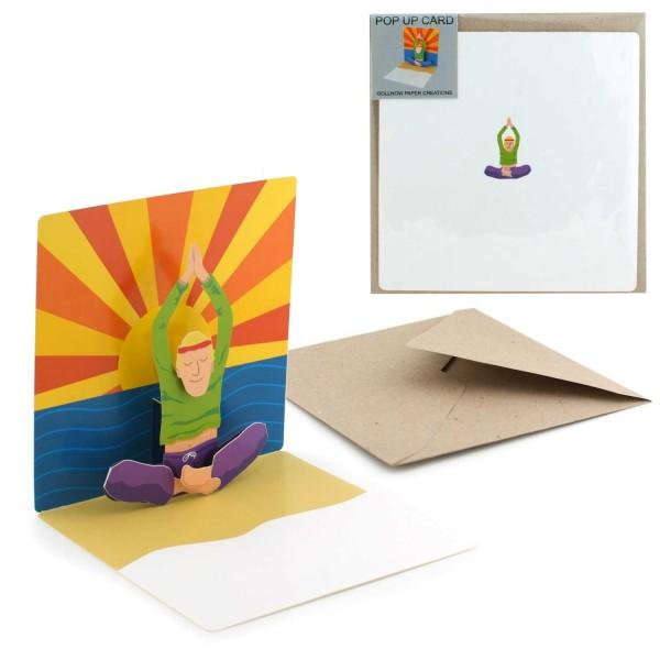 Grußkarte Yoga Mann - Pop-Up Anlasskarte Einladung Set mit Briefumschlag
