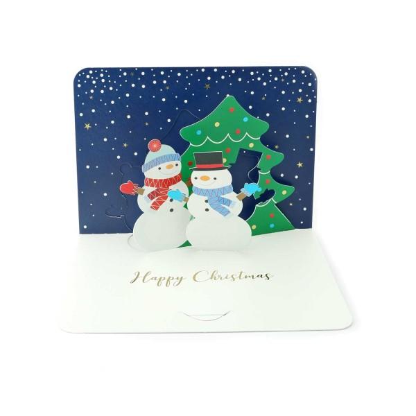 Pop-up-Karte Schneemänner-Weihnachtskarte