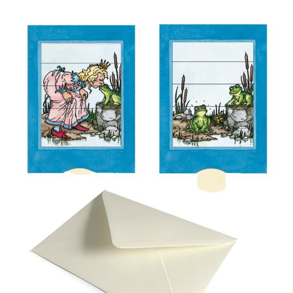 Grußkarte Froschkönig - Schiebekarte Märchenmotiv Set mit Versandtasche
