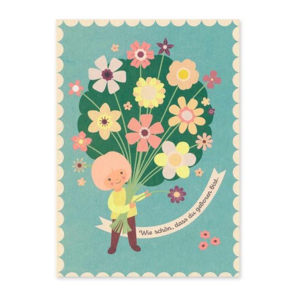 """Postkarte """"Wie schön, dass du geboren bist."""" hellblau / Geburtstag kaufen"""
