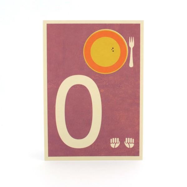 Zahlen-Postkarte 0