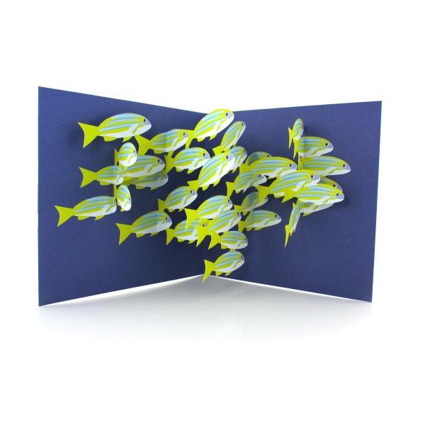 Pop-up-Karte mit einem bunten Fischschwarm