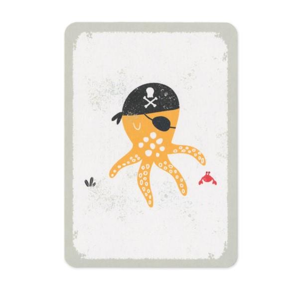 "Postkarte ""Ein Krake als Pirat"""