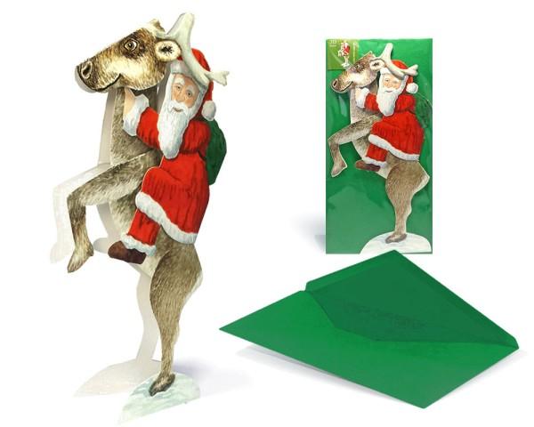 Weihnachtskarte Weihnachtsmann reitet auf Rentier - Ansicht komplett Set