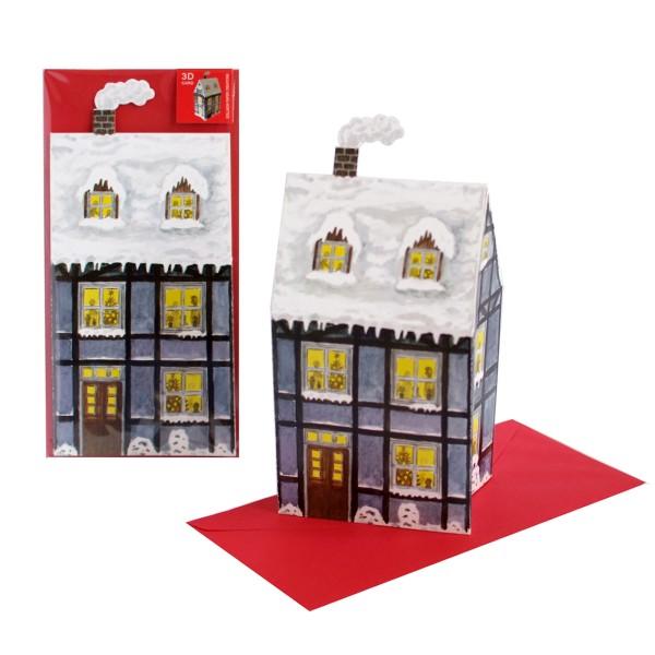 Weihnachtskarte 3D Haus mit Schneedach -  Grußkarte Advent oder Weihnachten Set mit Couvert