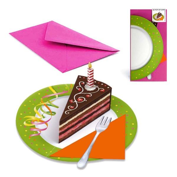 Pop Up Partyeinladung Torte & Konfetti - P01 Einladungskarte Set mit Briefumschlag