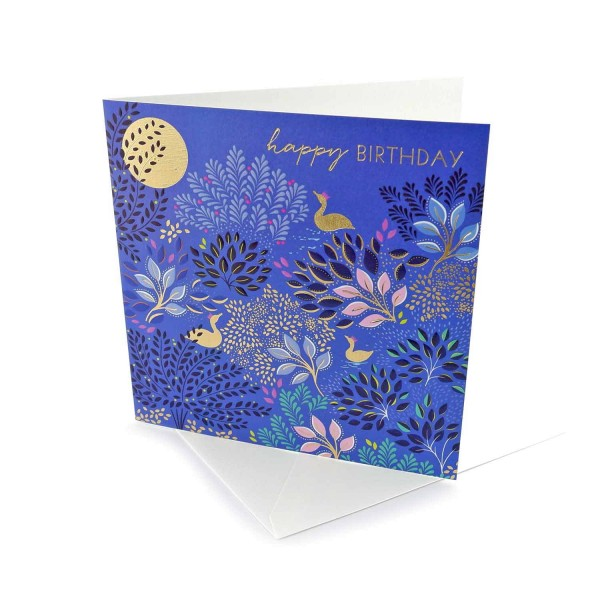 Geburtstagskarte Blätter und Vögel