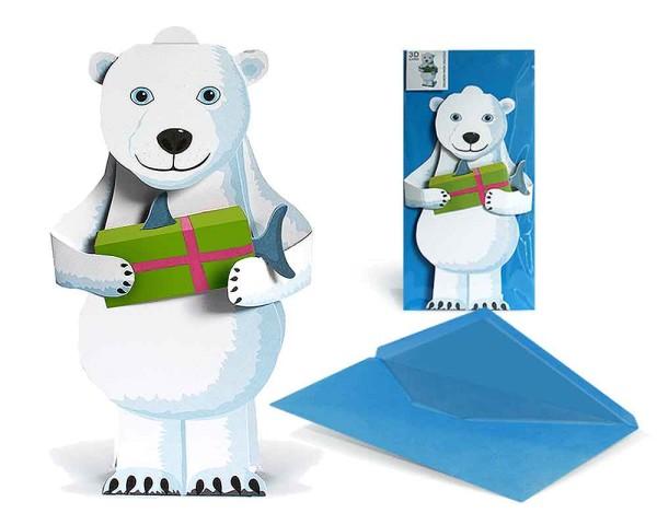 Geburtstagskarte 3D Eisbär mit Geschenk - Grußkarte Komplett-Set
