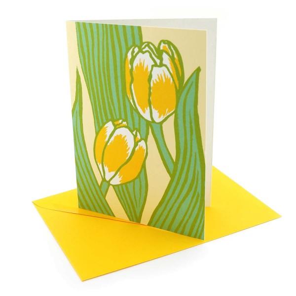 Klappkarte Gelbe Tulpen