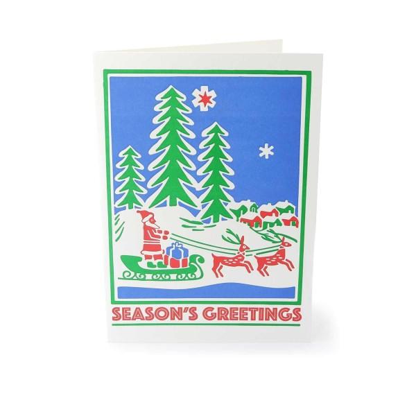"""Weihnachtskarte """"Nikolaus mit Rentieren"""""""